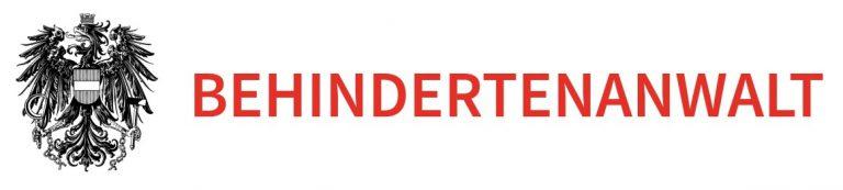 Logo Behindertenanwalt. Der Bundesadler und rechts daneben der rote Text Behindertenanwalt