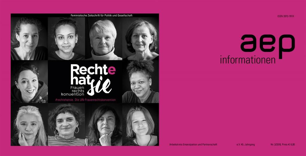 Titelbild der Ausgabe der AEP-Informationen zur UN-Frauenrechtskonvention (CEDAW) und dem NGO-Schattenbericht