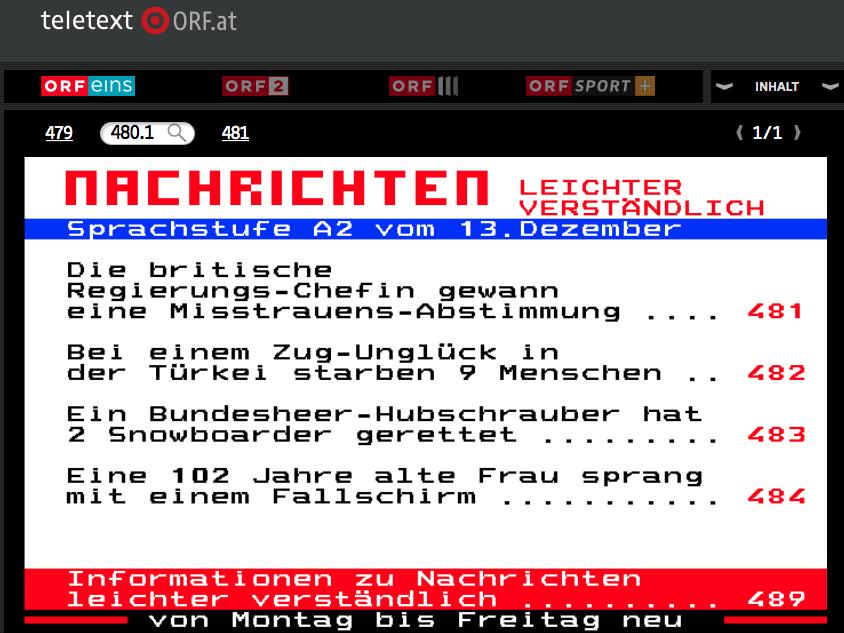 ORF-Teletext Nachrichten in Sprachstufe A2