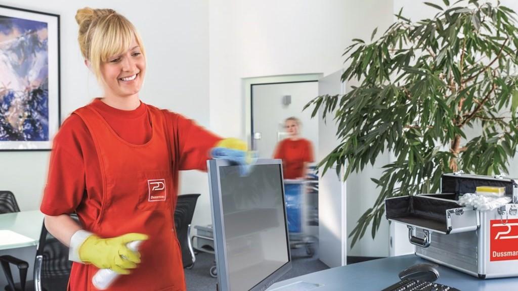 Frau putzt einen Bildschirm