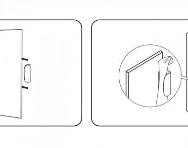 2 Skizzen eines Schrankes. Bei der ersten Skizze sieht man, dass man das Zusatzteil auf die Tür schieben soll. Die 2. Skizze zeigt, dass man den Unterarm hinein stecken kann um damit die Tür aufzuziehen.
