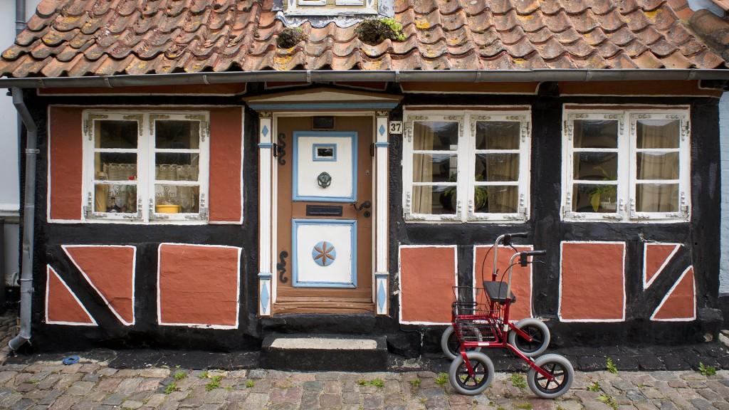 Ein roter, sehr einfacher Rollator steht vor einem schönen alten Haus. Die Wände sind schwarz mit großen roten Rechtecken verziehrt. Die Tür ist braun mit blauweißen Elementen. Man sieht auch ein bisschen vom Dach mit alten Dachziegeln.
