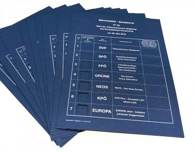 Stimmzettel - Schablone für die EU-Wahl 2019