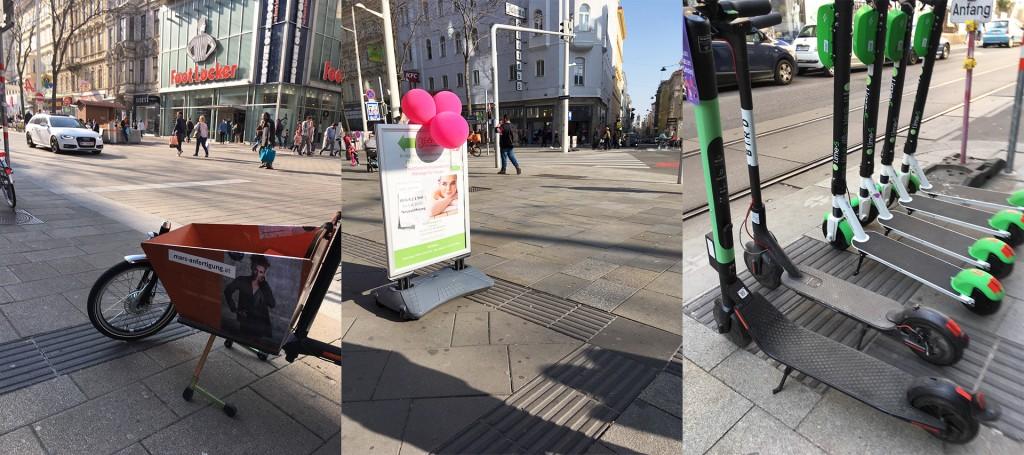 3 verschiedene Bilder nebeneinander. Jedes mal ist das Blindenleitsystem verstellt. Links durch ein Werbelastenfahrrad. Beim Bild in der Mitte durch einen Werbeständer für ein Geschäft. Rechts durch 6 E-Scooter.
