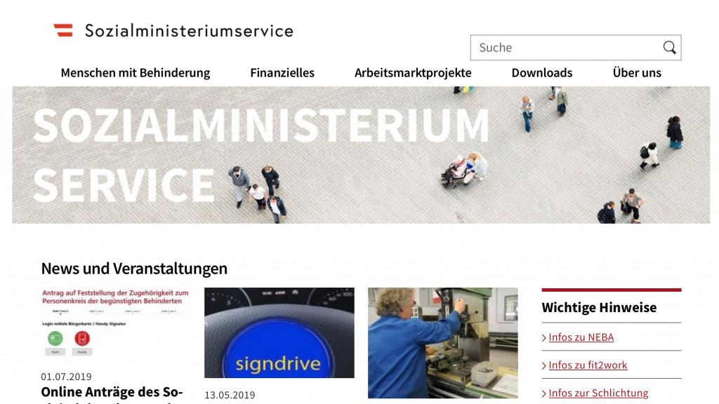 Homepage Sozialministeriumservice