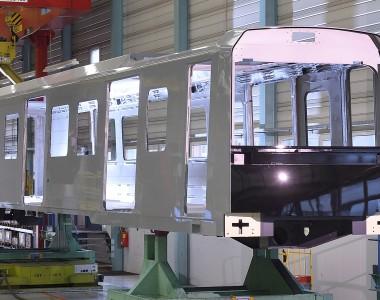 Wagenkasten der neuen U-Bahn: der X-Wagen wird auf der Linie U5 vollautomatisch unterwegs sein