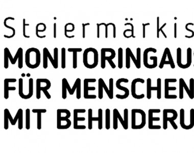 Logo, ein Rollstuhlsymbol und rechts davon der Text Steiermärkischer Monitoringausschuss für Menschen mit Behinderungen