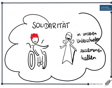 Frauen mit Text: Solidarität in unseren Unterschieden zusammenhalten