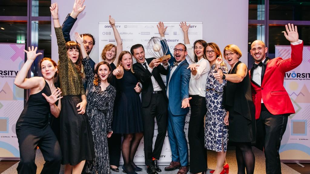 Gruppenbild der Gewinnerinnen und Gewinner des DIVÖRSITY Award 2019