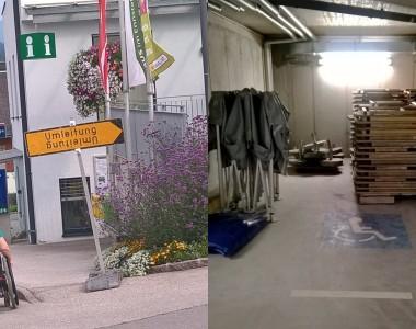 Links: Eine Rollstuhlfahrerin kann nicht auf einen Gehsteig fahren weil dort ein Schild Umleitung abgestellt ist. Rechts: Ein Behindertenparkplatz der als Lager für Holzbänke verwendet wird.