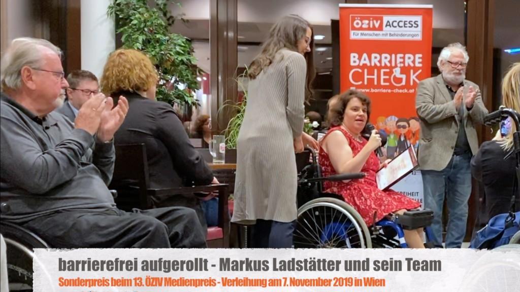 Katharina Müllebner übernimmt Sonderpreis des 13. ÖZIV-Medienpreises für Markus Ladstätter und sein Team