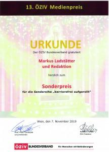 ÖZIV-Medienpreis 2019: Urkunde für Markus Ladstätter und Redaktion zum Sonderpreis für die Sendereihe barrierefrei aufgerollt