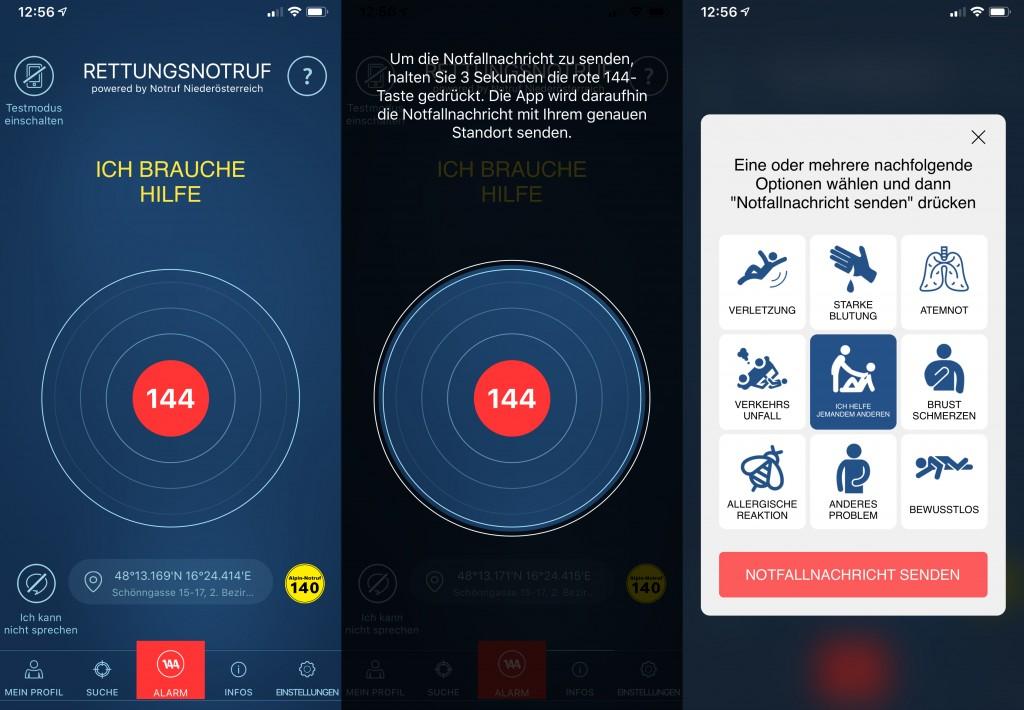 Rettungsnotruf App mit Chatfunktion