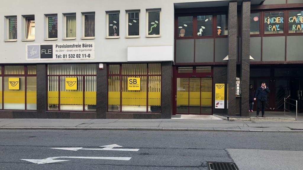 Außenansicht der Postfiliale Hauffgasse in Wien
