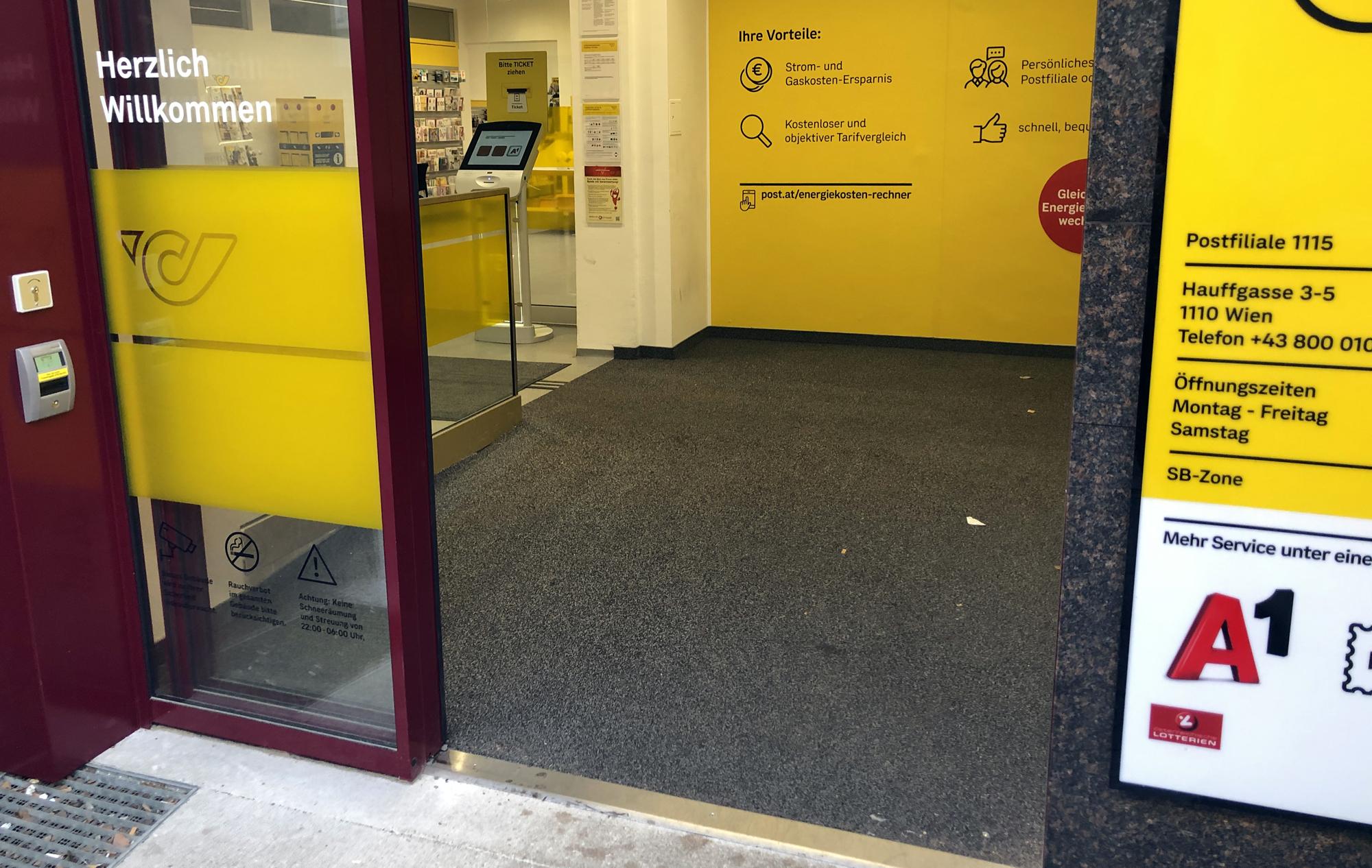 Eingangsbereich der Postfiliale Hauffgasse in Wien
