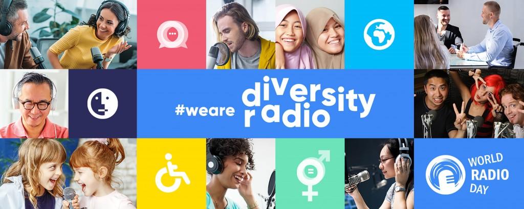 Viele verschiedene Menschen mit Mikrofonen. In der Mitte steht #wearediversityradio und world radio day
