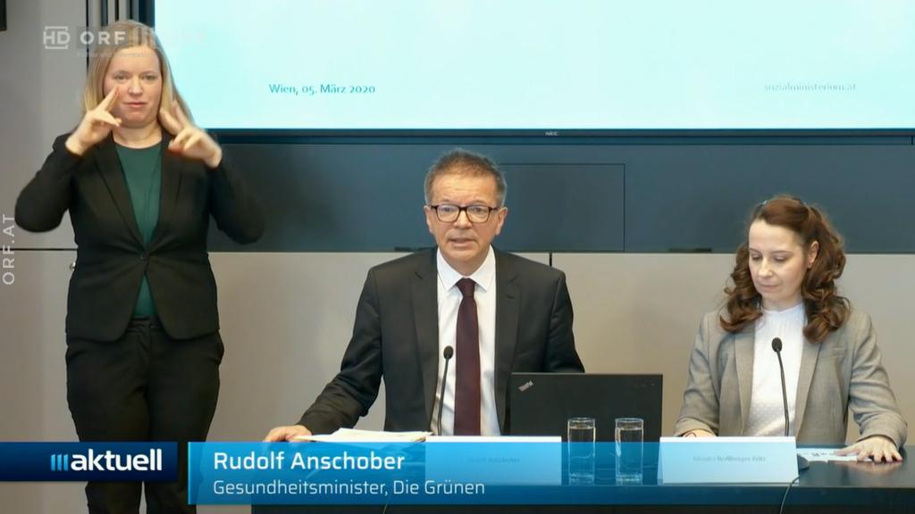 Rudolf Anschober mit ÖGS-Dolmetschung zu Coronavirus