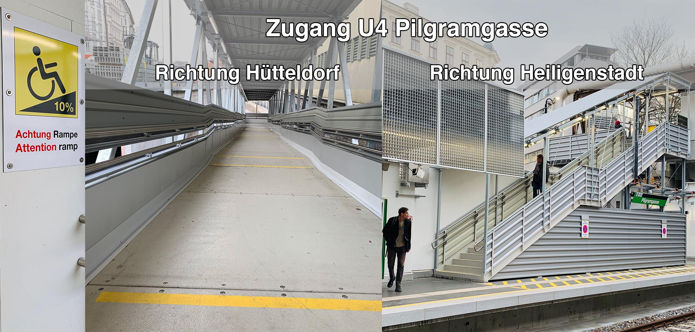 Linke Hälfte zeigt die lange steile Rampe mit kurzen Zwischenpodesten Richtung Hütteldorf, die rechte Hälfte das Treppengerüst Richtung Heiligenstadt