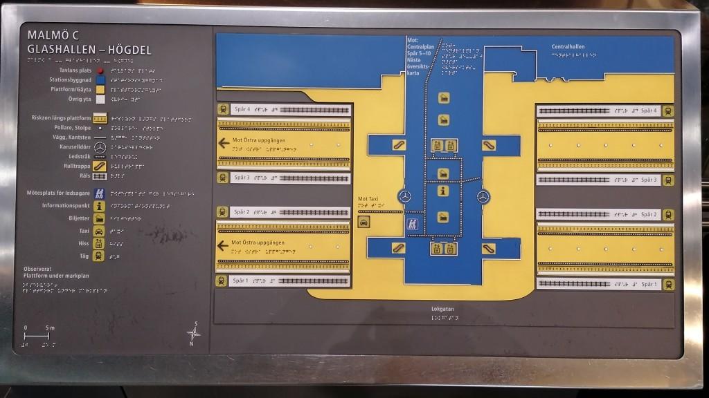 Tastplan Bahnhof Malmö C Glashallen-Högdel. Beschreibung unter dem Bild