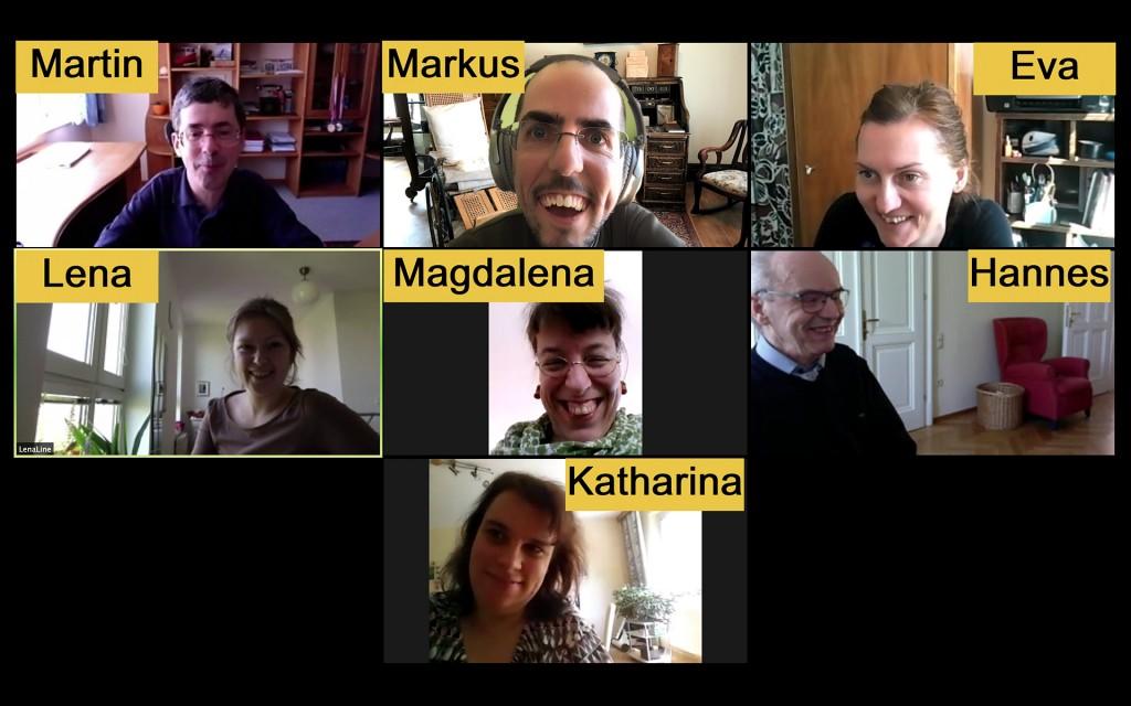 Eine Online-Besprechung von BIZEPS mit folgenden Teilnehmerinnen und Teilnehmern: Martin, Markus, Eva, Lena, Magdalena, Hannes und Katharina. Alle lächeln von Zuhause aus in die Kamera.