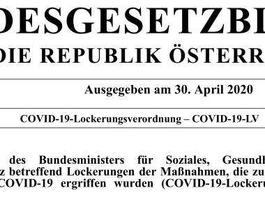 Deckblatt COVID-19-Lockerungsverordnung – COVID-19-LV
