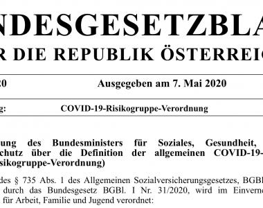 Deckblatt COVID-19-Risikogruppe-Verordnung