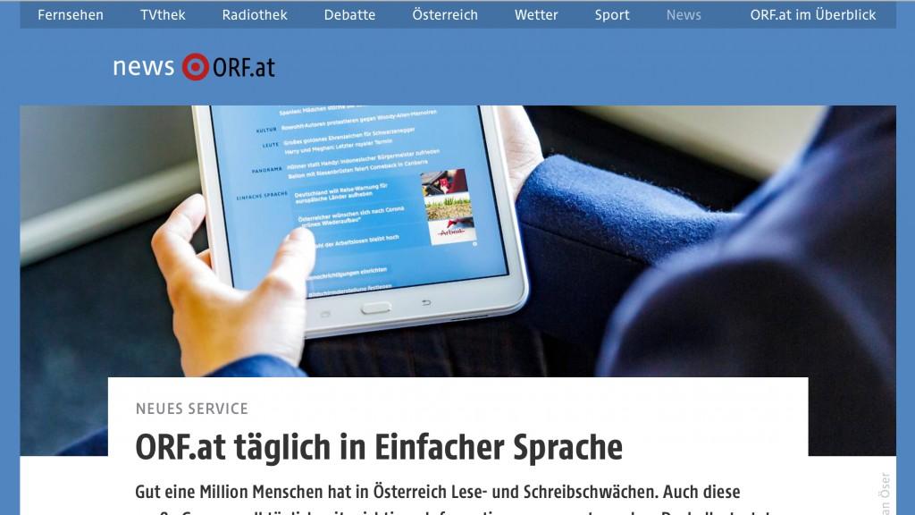 ORF.at täglich in Einfacher Sprache