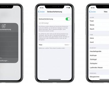 Screenshots wie man die Geräuscherkennung auf iOS aktiviert. Die Details im Artikel.