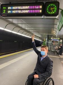 Unterstrich bei U-Bahn Anzeige in Wien