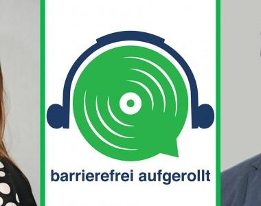 Links im Portrait Barbara Sima-Ruml, in der Mitte das grüne Lautsprecherlogo mit Text barrierefrei aufgerollt, rechts das Portrait von Volker Frey