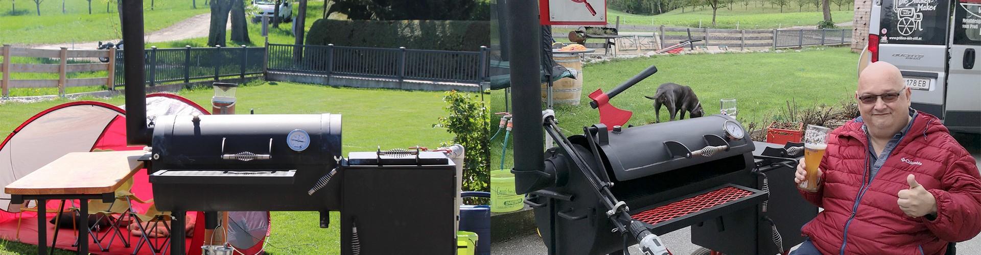 2 Bilder eines schwarzen BBQ Smokers, beim rechten Bild steht noch ein Mann im Rollstuhl, mit Bier in der Hand, daneben und lächelt in die Kamera.