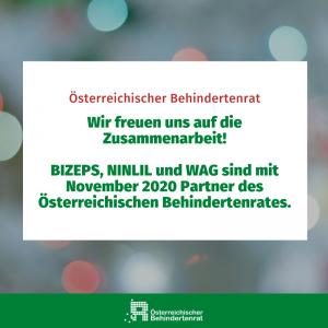 ÖBR freut sich über neue Partner (BIZEPS, Ninlil und WAG)