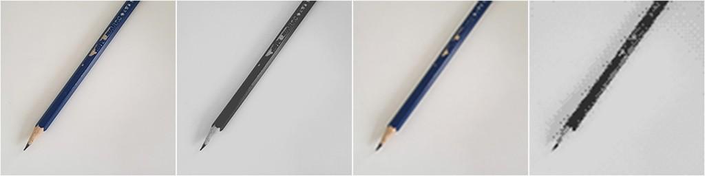 Vier Felder stellen dasselbe Objekt dar; Es handelt sich um einen Bleistift, der seine Spitze in der linken unteren Ecke hat; An der rechten oberen Ecke ist er abgeschnitten und ragt so in das Bild hinein; Das erste Feld stellt den Gegenstand so dar, wie er auf einem hochwertigen Farbdisplay aussehen könnte und ist so leicht als Bleistift zu erkennen; Im zweiten Feld sind die Farben auf vier Graustufen reduziert, die Auflösung ist unverändert; Im Dritten Feld ist die Bildauflösung um den Faktor 20 reduziert, die Farben sind wie in Feld 1 vorhanden; Im vierten Feld sind Bildauflösung und Farben reduziert, der Bleistift ist dadurch nicht mehr ohne weiteres als solcher zu erkennen;