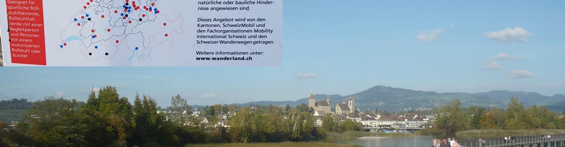 Ausblick über die Holzbrücke Seedamm in der Schweiz. Im Bild noch ein Bild mit Erklärungstext, siehe im Text darunter.