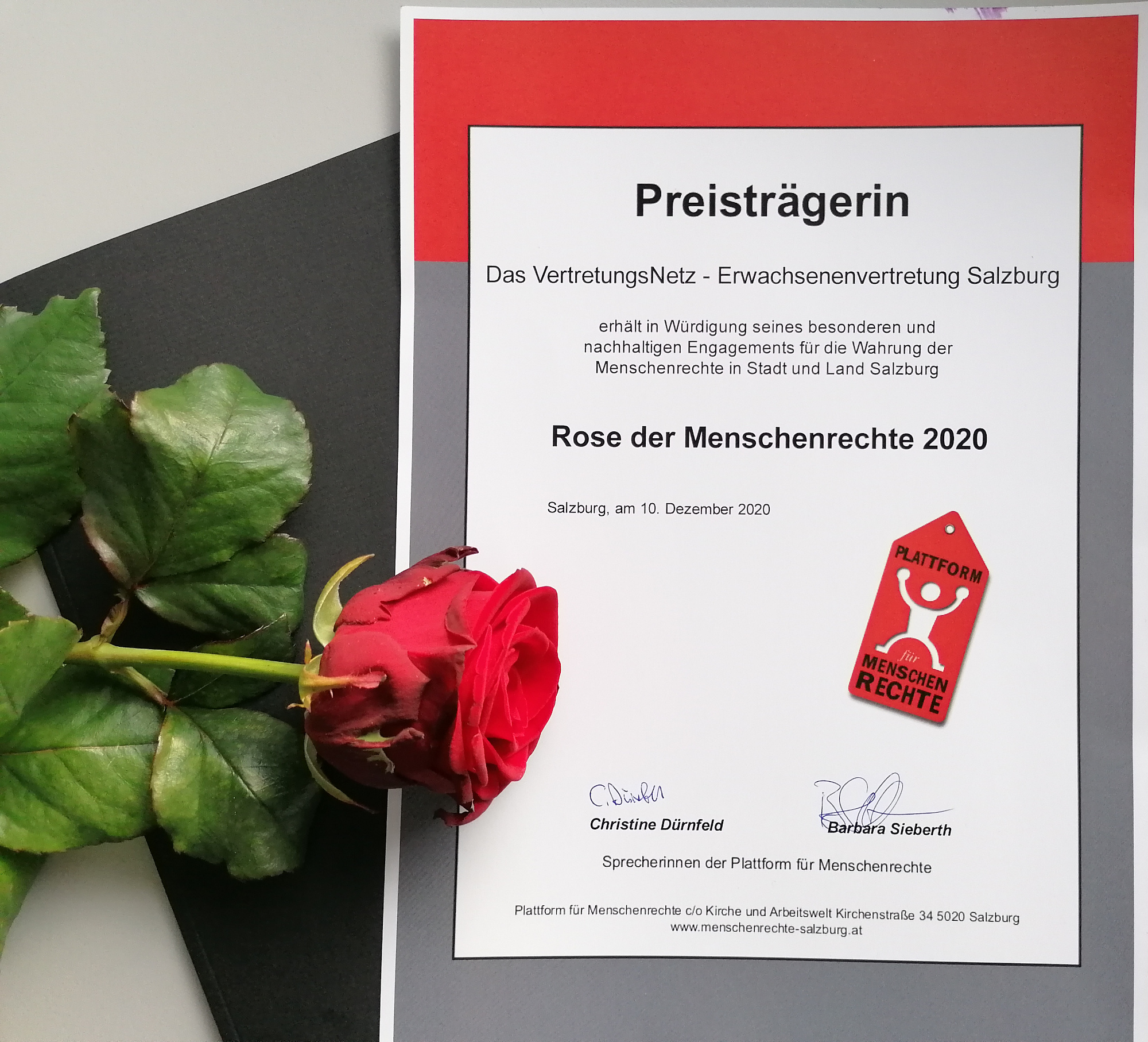 Preis: Rose der Menschenrechte 2020 für VertretungsNetz - Erwachsenenvertretung Salzburg