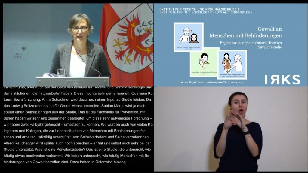 Hemma Mayerhofer spricht bei der Tiroler Enquete zum Gewalt