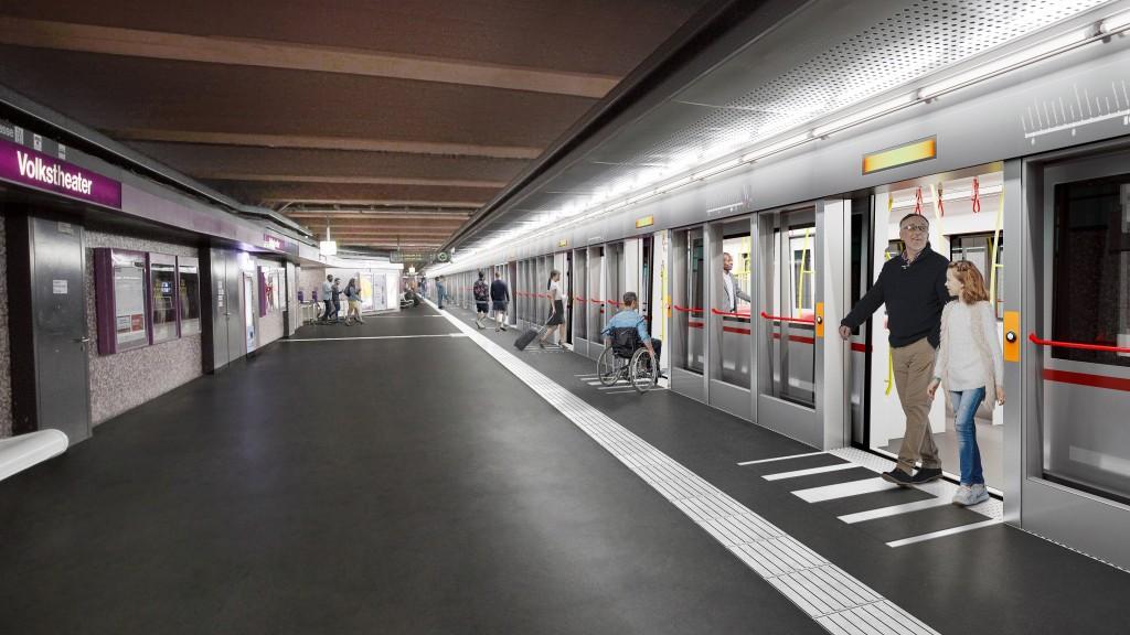 Rendering der zukünftigen U2 mit Bahnsteigtüren