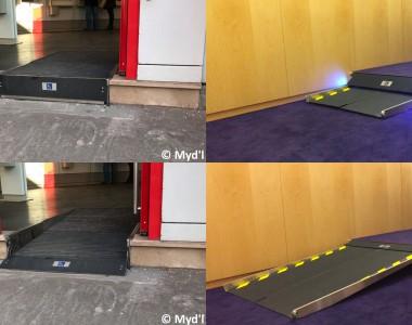 4 Bilder, links oben ein Hauseingang, der Boden ist schwarz, 1 Stufe und hat an der Stufe ein Rollstuhlsymbol, die Tür ist offen, darunter das gleiche Bild, der schwarze Boden ist abgesenkt und wurde zu einer Rampe. Bild rechts oben. Innenbereich, violetter Teppich, helle Holzwand. Davor eine Stufe aus der eine Rampe ausfährt und dabei blinkt. Darunter die gleiche Szene aber die Rampe ist komplett ausgefahren.