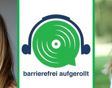 Links im Portrait Lena Steger, in der Mitte das grüne Lautsprecherlogo mit Text barrierefrei aufgerollt, rechts das Portrait von Karin Ofenbeck