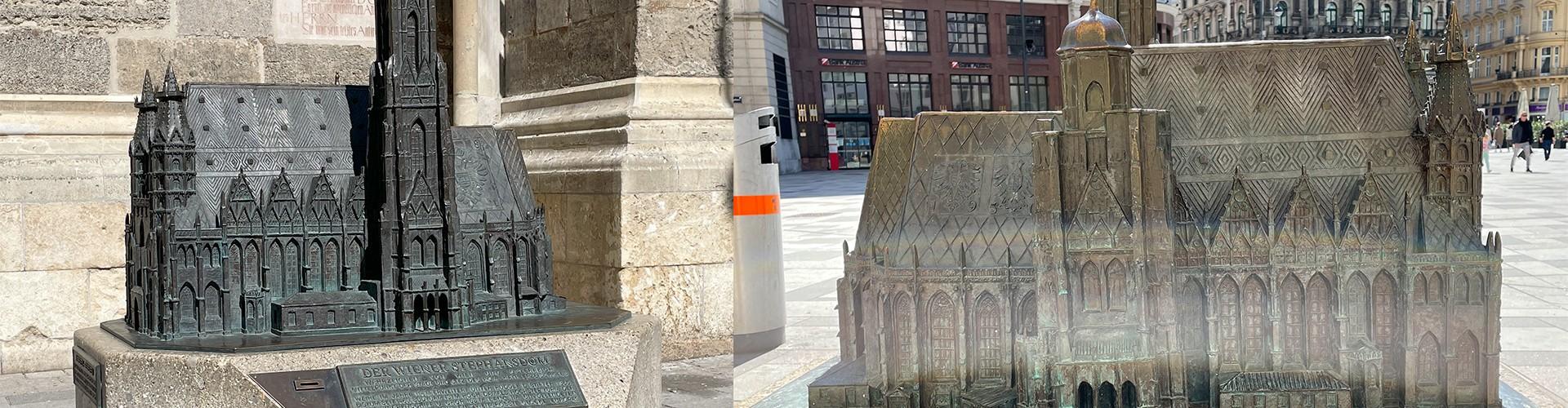linke Hälfte: Vorderansicht des Tastsmodells des Stephansdoms. Es steht vor dem eigentlichen Dom, rechtes Bild: Ansicht von der Rückseite des Tastmodells, im Hintergrund ist der Stephansplatz zu sehen.