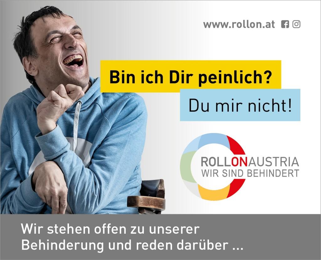 Behinderter Mann und der Text: BIN ICH DIR PEINLICH? Du mir nicht!
