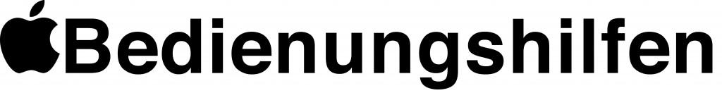 schwarzes Apple Logo, rechts daneben der Text Bedienungshilfen