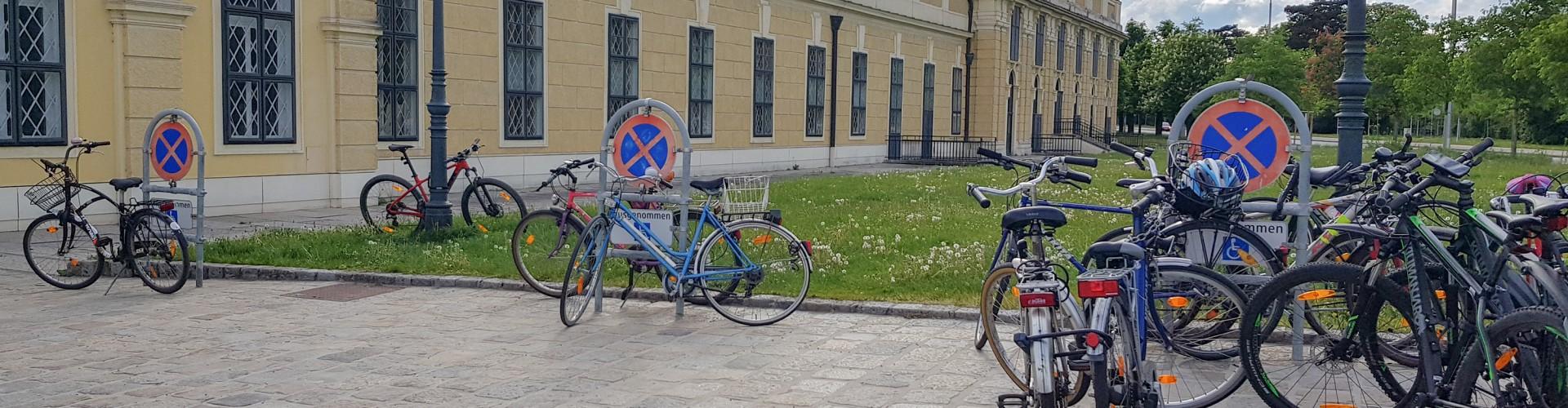 3 Behindertenparkplätze vor dem Schloss Schönbrunn (im Hintergrund zu sehen). Die Parkplätze sind mit Schildern die in Metallbügel eingefasst sind gekennzeichnet. Beim linken Parkplatz steht ein Fahrrad mit Ständer aufgestellt. Beim miitleren Parkplatz ist ein Fahrrad am Schild angelehnt, eines steht dahinter. Beim rechten Parkplatz stehen 8 Fahrräder, zum Teil an das Behindertenparkplatzschild angekettet.