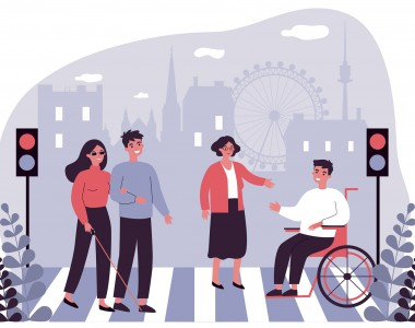Ein Cartoon. Im Hintergrund die Silhouette von Wien, im Vordergrund links und rechts eine Fußgängerampel die rot zeigt. dazwischen eine Frau mit Blindenstock die sich mit einem Arm bei einem Mann einhängt, rechts daneben eine stehende Frau die ihre Hand in Richtung eines Rollstuhlfahrers ausstreckt. Er streckt auch seine Hand in ihre Richtung aus. Alle lachen.
