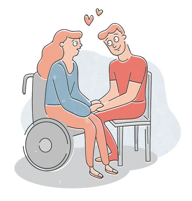 Frau im Rollstuhl und Mann am Sessel sitzend halten verliebt Hände