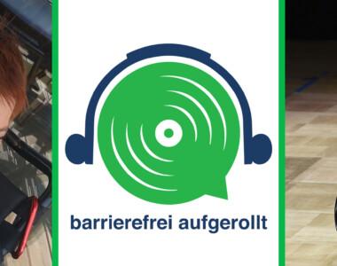 Links im Portrait Elisabeth Löffler, in der Mitte das grüne Lautsprecherlogo mit Text barrierefrei aufgerollt, rechts Sabrina Gostner in weißem Kleid, sie streckt die linke Hand in die Höhe, die rechte Hand geht nach unten. Sie sitzt in einem Tanzrollstuhl.